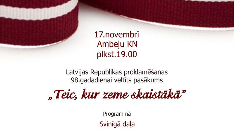 Latvijas svētku vakars Ambeļu kultūras namā